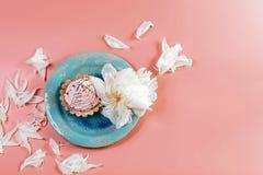Ainda vida pitoresca em tons cor-de-rosa, placa decorativa com o bolo cremoso cercado pelos pions brancos das pétalas, em um fund foto de stock