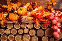 Ainda vida que consiste nas folhas alaranjadas, vegetais do outono Foto de Stock
