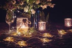 Ainda vida romântica com luz de vela Foto de Stock Royalty Free