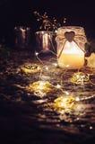 Ainda vida romântica com luz de vela Fotos de Stock Royalty Free