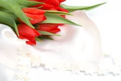 Ainda-vida romântica com tulips vermelhos Imagem de Stock Royalty Free