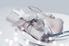 Ainda vida romântica para um jantar de Natal Fotografia de Stock