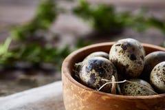 Ainda vida rural com a bacia completa dos ovos codorniz, ovos em um guardanapo homespun, buxo no fundo de madeira, vista superior Imagens de Stock