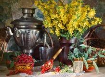 Ainda vida rural com flores amarelas e o corinto vermelho Fotos de Stock