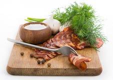 Ainda vida simples áspera com bacon Fotografia de Stock