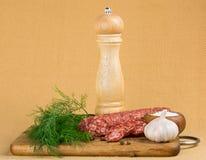 Ainda vida simples com salsicha cortada Imagem de Stock