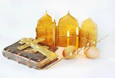 Ainda vida sobre Christian Easter ortodoxo Imagem de Stock