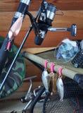 Ainda vida sobre a pesca Foto de Stock