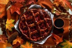 Ainda vida: Torta caseiro da cereja do vintage e copo de Imagens de Stock