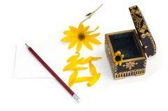 Ainda vida um caixão aberto, uma flor amarela, pétalas e um lápis Imagens de Stock