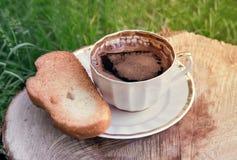 Ainda vida: um copo do café preto no jardim Imagem de Stock Royalty Free