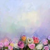 Ainda vida um ramalhete das flores A rosa vermelha e amarela da pintura a óleo floresce no vaso Imagem de Stock Royalty Free