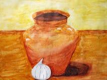 Ainda vida uma cor de água, o jarro e alho Fotografia de Stock Royalty Free
