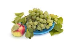 Ainda vida uma placa com uvas e uma maçã na esquerda, isolat Imagem de Stock Royalty Free