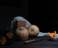 Ainda vida, vintage abóbora e rosas alaranjadas em uma tabela de madeira escura arte, pinturas velhas Foto de Stock Royalty Free
