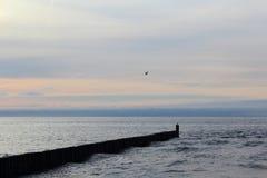 Aine à la plage de mer baltique du morskie d'ustronie, Pologne au crépuscule de soirée Images libres de droits