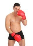 Aine de revêtement de type avec le gant de boxe Photos libres de droits