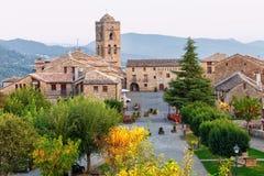 Ainsa,韦斯卡省,西班牙中世纪村庄  图库摄影