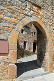 Ainsa medieval romanesque village arch fort door Royalty Free Stock Image