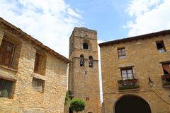 Ainsa medieval romanesque village church Spain Stock Photo