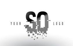 AINSI logo de lettre de pixel de S O avec les places noires brisées par Digital Photographie stock libre de droits