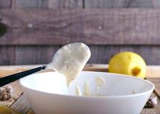 Aioli dip - garlic mayonnaise Royalty Free Stock Photo