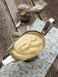 Aioli sauce. Aioli - sauce from mayonnaise with garlic Royalty Free Stock Images