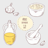 Aioli sauce recipe illustration in vector Royalty Free Stock Images