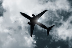 Aiplane silhouette Stock Photography