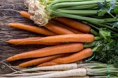 Aipo da pastinaga da cenoura Cenoura e pastinaga do aipo na tabela de carvalho rústica Foto de Stock Royalty Free