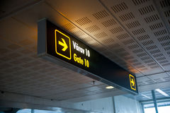 Aiport fight departure gate sign Stock Image