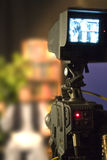 On air. Television camera doing interview or live Royalty Free Stock Image