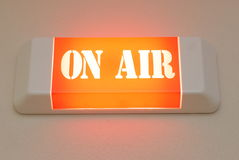 On Air. Light from studio of radio wow - on air Stock Photo