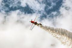 Air acrobatics. Airplane acrobatics on the sky Royalty Free Stock Photo