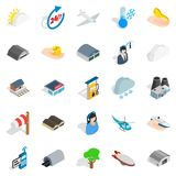 Air adventure icons set, isometric style. Air adventure icons set. Isometric set of 25 air adventure vector icons for web isolated on white background Stock Images