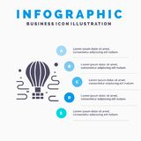 Air, Airdrop, tour, travel, balloon Solid Icon Infographics 5 Steps Presentation Background stock illustration