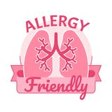 Air allergy friendly symbol badge vector illustration. With pink lungs Royalty Free Stock Image