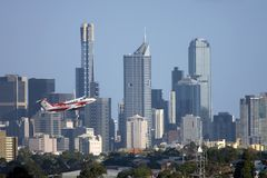 Air Ambulance. With Central Business District of the city of Melbourne in the background Royalty Free Stock Photography