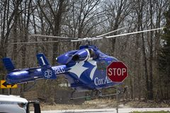 Air ambulance helicopter in flight lift off Royalty Free Stock Image