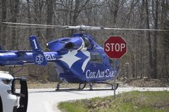 Air ambulance helicopter on the ground Stock Images