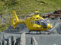 Air Ambulance parked on gravel ground Royalty Free Stock Photography