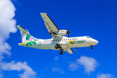 Air Antilles Express. A French airline based in Guadeloupe in the Caribbean, ATR 42 approaching to land royalty free stock photos