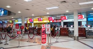 Air Asia на международном аэропорте Чиангмая стоковое фото