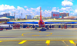 Air asia aircraft at manila domestic airport Royalty Free Stock Images
