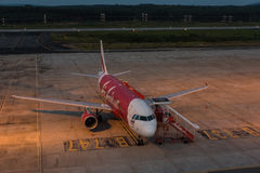 Air asia park at krabi airport in evening Stock Photography