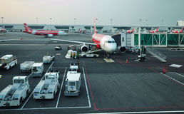 Air Asia plane ready to take off in KLIA 2, Kuala Lumpur Royalty Free Stock Image