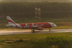 Air asia rolling for take off at krabi airport Stock Photos
