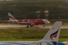 Air asia rolling for take off at krabi airport Royalty Free Stock Photos