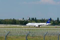 Air Astanf de société aéronautique dans l'aéroport international de Boryspil Photographie stock libre de droits