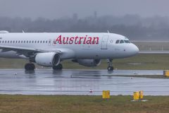 Air austria airplane at dusseldorf airport germany royalty free stock photo